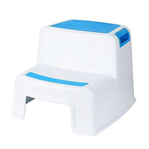 Cusfull Rutschfester Kinderschemel Tritthocker Kindersitz zum Toilettentraining Trittbank für Baby, Badezimmer, Kinderzimmer, Händewaschen - 2 Stufen, Weiß/Blau