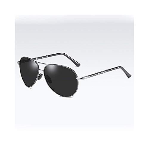 KYS Premium Military Style Classic Aviator Sonnenbrille Polarisierte Sonnenbrille Ultraleichter Rahmen 100% UV-Schutz Sport Angeln Fahren Brille Unisex (Color : Silver)