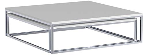 Design Couchtisch 2er Set ELEMENTS Hochglanz Weiß chrom Tische Beistelltische Wohnzimmertisch