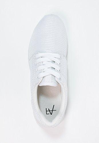 Anna Field Sneaker Damen Low in Weiß, Schwarz, Blau oder bunt mit Muster - Turnschuh Frauen mit Blumenmuster, Halbschuh mit Tiermuster Unifarben- Weiß