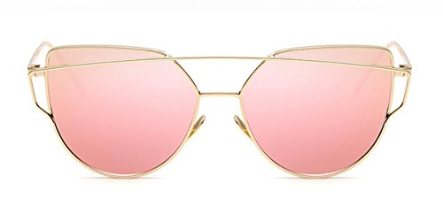 Elinka Women Fashion Twin-Beams Classic Metal Frame Mirror Sunglasses Cat Eye Glasses (Pink)