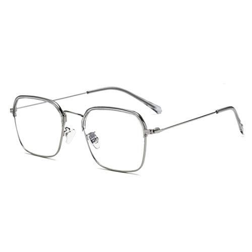 Mkulxina Anti-Blue Light Brillen Metall Männer und Frauen Brillenrahmen klare Rahmen Lesebrille (Color : Silver)