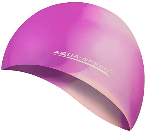 Aqua Speed Bunte Badekappe | Damen & Herren I wasserdichte Schwimmhaube für Erwachsene Kinder I Silikon Bademütze | elastische Badehaube aus Silikon |57. Bunt + Kleines Mikrofasertuch - 65
