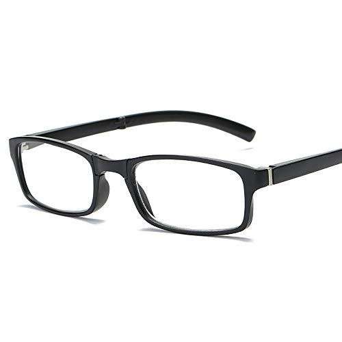 ZSSM Tragbare Faltbare Lesebrille mit intelligentem, kompaktem Gehäuse Faltbares Design Verfügbare Stärken Federbeine Lesebrille schwarz,+3.00