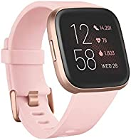 Fitbit Versa 2 Health & Fitness Smartwatch with Voice Control, Sleep Score & Music, One Size, Petal/Co