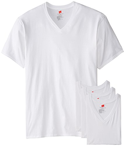 Hanes Herren T-Shirt Tall Man V-Ausschnitt 3 Stück - Weiß - 5XL/Hoch (V-ausschnitt Unterhemd Hanes)
