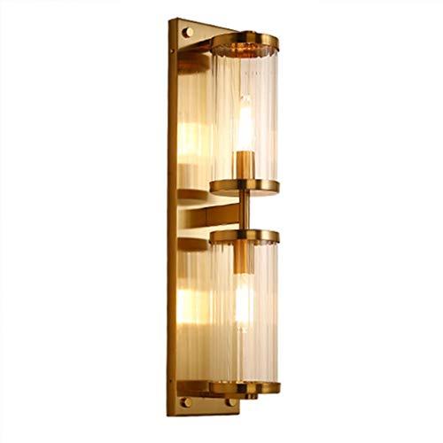 LPZF Wandleuchte Glas Schattierungen Luxus Wandleuchte E14, Gold Hotel Dekor Wandlampe Bar Café Bettleuchte Lampe-2-Lichter 13x60cm