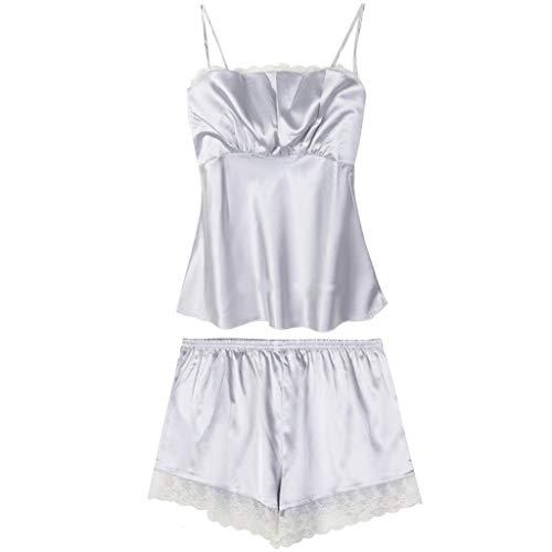 Linkay Damen Nachthemden Schlafanzugoberteile Bequem Schlinge Zuhause Schlafanzughosen Ärmellose Shorts Pyjama Gesetzt Mode 2019 (Grau, Medium) -