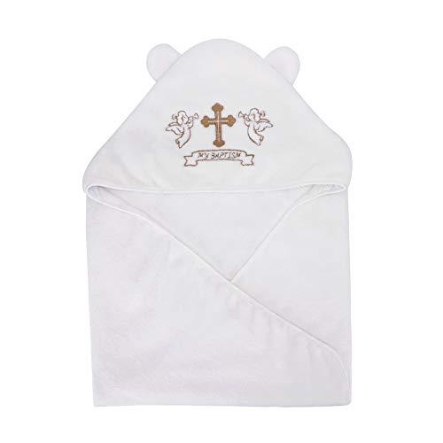 LACOFIA Baby Taufe Handtuch mit Kapuze Unisex Baby Taufe Deckemit Ohren, Weiß mit Gold Stickerei Kreuz, Personalisierte Geschenke für Jungen oder Mädchen, Volle Badetuch Größe 90 * 90 CM