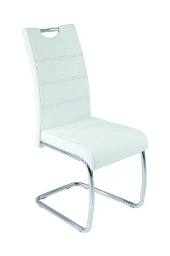 4er Set Schwingstuhl Flora, Kunstleder Weiß, Griffmulde, Metallgestell verchromt, 42x57x98 cm