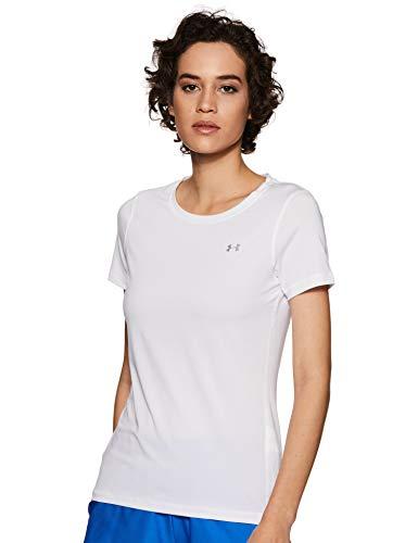 Under Armour Damen Fitness T-Shirt UA HG Kurzarmhemd, Weiß, Gr. S Herstellergröße SM (Fitness Armour Under)
