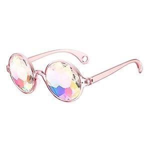 LUOEM Kaleidoskop Brille Regenbogen Gläser Sonnenbrille Party Festivals Dekoration (Rosa Rahmen mit Löchern)