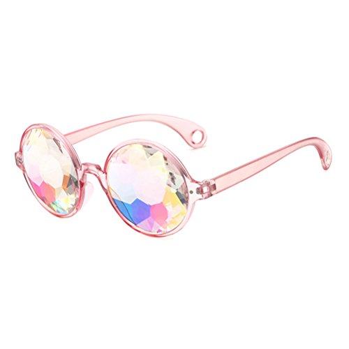 BESTOYARD Kaleidoskop Brille, Regenbogen Sonnenbrille Festivals Rave Party Brille (Rosa Rahmen mit Löchern)