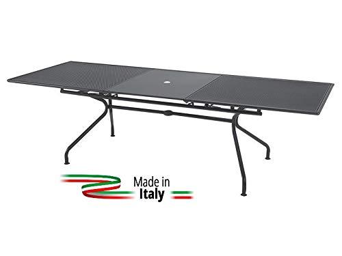 Emu Table Extensible pour extérieur modèle Athena marquage Mesure 160 + 50 x 90H cm - Couleur Fer Ancien - Fabriqué en Italie