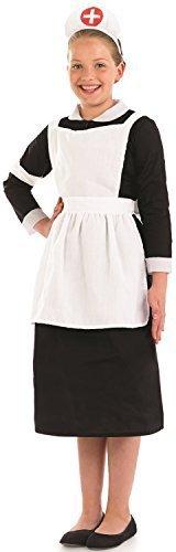 Fancy Me Mädchen Kriegszeit Krankenschwester Historisch Florence Nightingale Welttag des buches-Tage-Woche Schule Play Kostüm Kleid Outfit 4-12 Jahre - 8-10 years