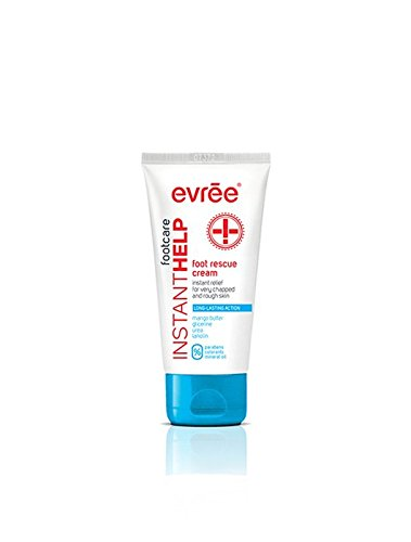 Evree Instant Help Foot Cream Long Lasting Action Rescure Cracked and Rough Skin FREE FROM PARABENS COLOURANTS and MINERAL OILS