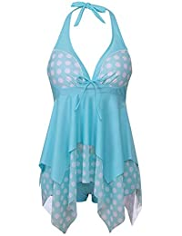 FeelinGirl Damen Bademode Figurformend Neckholder Retro 50s Pin Up Vintage  Ruched Badeanzüge Bikini Set Badeanzug für 06b2519f2d