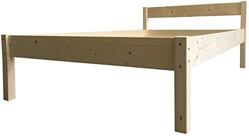 Erhöhtes Bett Holz massiv mit Kopfteil, Höhe wählbar 90 100 120 140 160 180 200 x 200cm hergestellt in BRD, Holzbett (90cm x 200cm, Betthöhe 55cm)