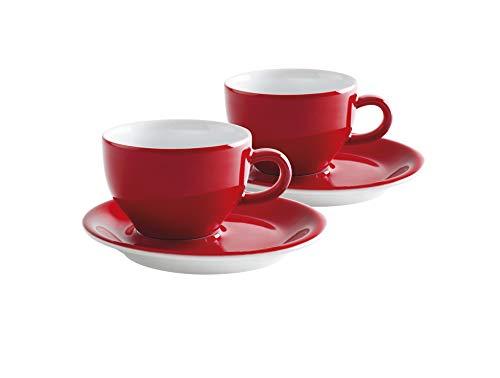 Kahla 21D250A60017C Café Sommelier |Cappuccino Tassen-Set Porzellan | 200 ml rund rot weiß mit Untertassen Set 4 teilig für 2 Personen Baristas