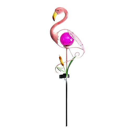 solarbetriebene Garten Leuchte im Flamingo-Design, aus mehrfarbigen Metall und rosa getöntem Echt-Glas gefertigt, von Festive Lights