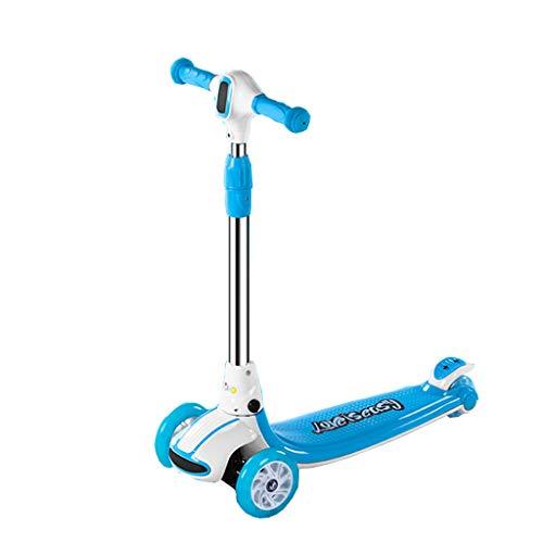 Roller Kinder 2-3-6 Jahre alt vierrädrige Kinder Schlittschuhe Männer und Frauen Baby Flash One Foot Yo Auto (Farbe : Blau)