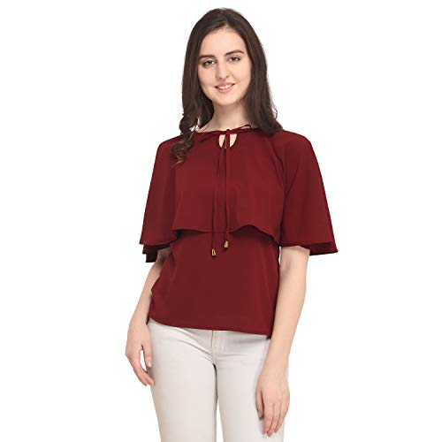 J B Fashion Women's Plain Regular fit Top (DESIGN-140-S_Maroon_Small)