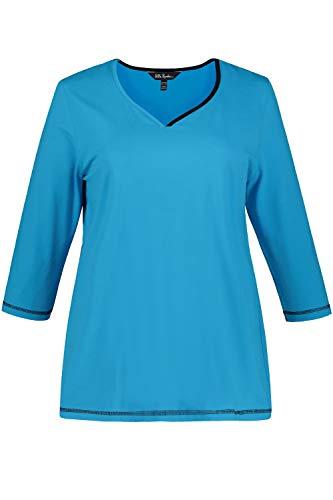 Ulla Popken Damen große Größen bis 64, Shirt, zweifarbiger Herzausschnitt, 3/4-Ärmel, Bequeme Passform, azurblau 66/68 720982 46-66+