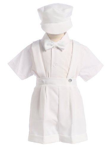Lito White Christening Baptism Suspenders and Short Set with Hat - size M (6-12 Month)