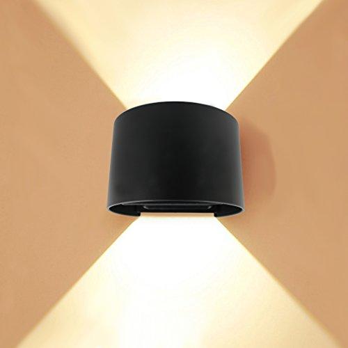 PHOEWON Interieur Exterieur Ajustable 7W LED Aluminium Applique Murale / Applique Eclairage / éclairage Murale / Appliques Chambre / Lampe Murale / Mural led / Lampe Nuit Imperméable pour Salon (Noir-Chaud Blanc)