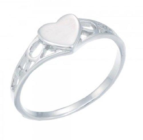 925 Sterling Silver Kids Girls Polised Heart Signet Ring 6KR17