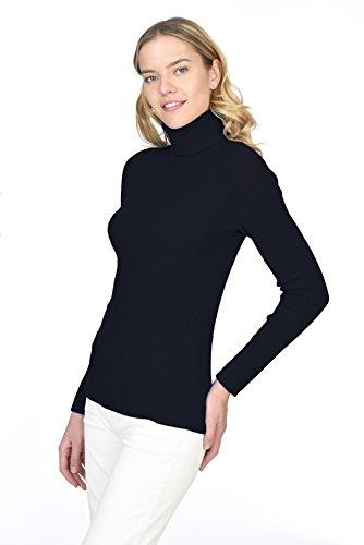 STATE CASHMERE gerippter, langärmliger Pullover aus 100 % reinem Kaschmir mit Rollkragen für Damen Schwarz