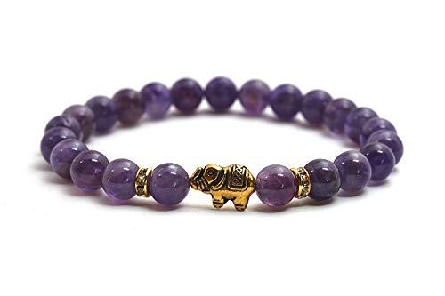 Elefanten Armband mit Amethyst Perlen - Yoga Armband und Glücksbringer aus Naturstein (Armband Mit Glücksbringer)
