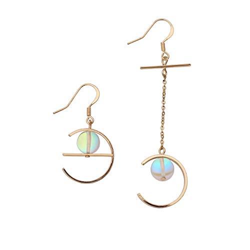 Damen Asymmetrische Ear Cuff Ohrringe in Gold,Unregelmäßig Mond Ohrringe Silber, Ohrhänger 925 Sterling Silber für Frauen Modern Partyschmuck Weihnachtsgeschenke...