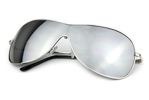 Candygirls Unisex Sonnenbrille Pilotenbrille Pornobrille Aviator Sonnen Brille Fliegerbrille (Silber Verspiegelt)
