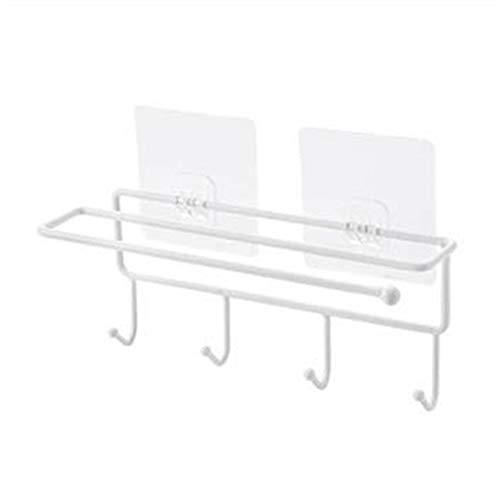 DIJUE Eisen-Lappen-Rack-Paste-Rack Küche Papier Handtuch Aufhänger Küchenutensilien Haken Schrank Anordnung Rack 2 2 Stück Weiß (Papier-handtuch-aufhänger)