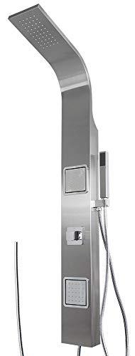 Duschpaneel Duschsäule Regendusche Edelstahl gebürstet eckig Massagedüsen von Sanlingo