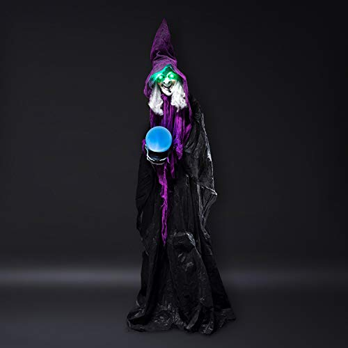 Animierte Halloween Butler - Lights4fun Animierte Halloween Hexe 183cm Halloween
