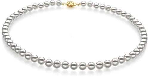 ndama–AAAA Qualität Japanische Akoya Zuchtperle 14K Gelb Gold necklace-16cm (Japanische Braut Kostüm)