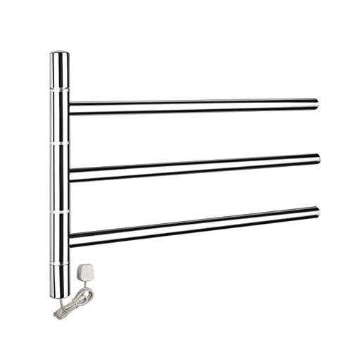 Schwenkbarer Handtuchwärmer (Xue- Shelf Schwenkbarer Handtuchhalter für das Badezimmer mit elektrischem Handtuchwärmer, Spiegelpoliertes Aufbewahrungsregal aus Edelstahl für das Badezimmer mit Handtuchhalter)