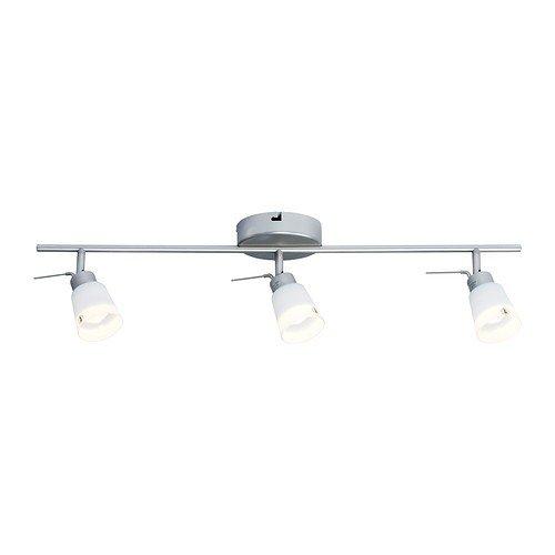 IKEA BASISK Deckenschiene 3 Spots; in weiß; vernickelt -
