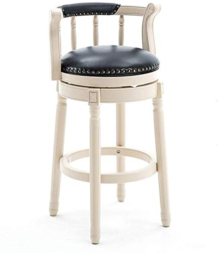 YZjk Retro Dining Chair White Rubber Solid Wood Swivel Back Bar Height Stool, Premium Leather Upholstered 360 Degree Swivel,Perfect for Dining and Living Room,Counter, bar -