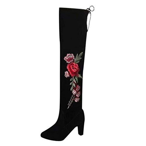 (ZHRUI Damen Sticken Stiefel Stiefelstiefel Kniehohe Stiefel Flock High Heels Schuhe (Farbe : Schwarz, Größe : 5 UK))