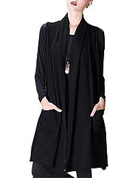 Eastery Gilet Donna Lunga Primaverile Autunno Fashion Smanicato Giubbino  Eleganti Puro Colore Casual Aperto A Forcella 24744d47c0b