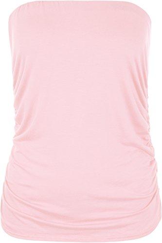 Bella Damen Rosa T-shirt (WearAll - Übergröße Damen Ärmellos Trägerlos Gerüscht Bandeau Top - Rosa - 44-46)