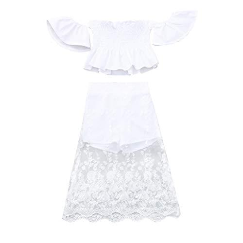 g Zweiteilig, Baby Mädchen Schulterfrei Solide Tops Spitzen Drucken Culottes Gesetzt Kinder Sommeranzug(Weiß,6-12 Monate/80) ()