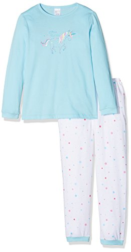 Schiesser Mädchen Zweiteiliger Schlafanzug Einhorn Md Anzug Lang, Blau (Hellblau 805), 104