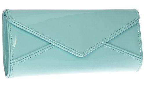 SwankySwans Perry Damen-Handtasche, Clutch, Briefumschlag-Stil, Lackleder Mint Blue