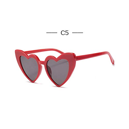Jeewly Klassische Sportsonnenbrille, Heart Shaped Sunglasses Women Luxury Cat Eye Sun Glasses Ladies Vintage Pink Black Eyewear UV400 C5red