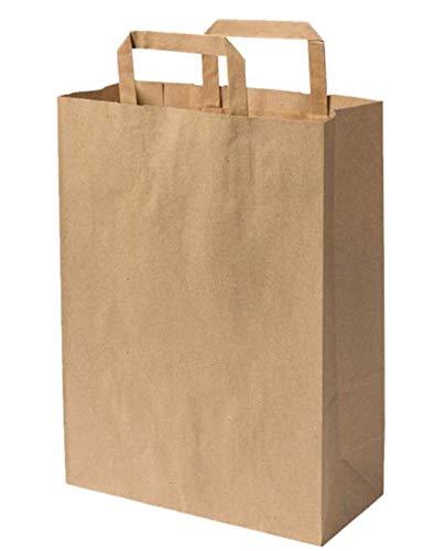 08ae1cc62d 10 Sac papier écrus à poignée renforcée 16 LITRES 40 cm haut x 32 large x  12 cm sac cabas marron solide résistant sac boutique vente à emporter  magasin sac ...