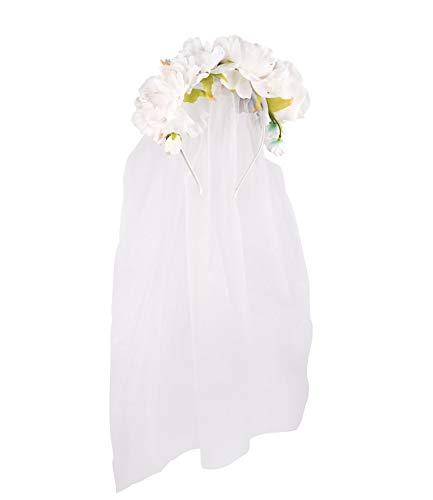 SIX Damen Haarschmuck, Haarreif mit Textilblumen und Schleier für Junggesellenabschied, Bride to be (315-819) (Blumen Und Schleier)
